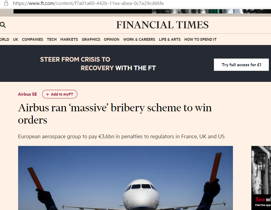 Financial Times report on Airbus bribery scheme.