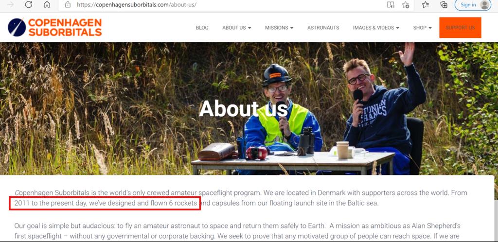 Copenhagen Suborbitals launch history